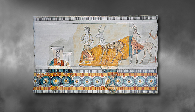 Minoan wall art freco depicting a procession leading a goat from Agia Triada (Hagia Triada) Crete. 1450-1300 BC. Heraklion Archaeological Museum.  Grey Background. <br /> <br /> This minoan fresco found at the minoan settlement of Hagia Triada, depicts a sacrifical procession leading animals to be sacrificed.