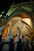 hooded penitents leaving the parrish church Saint Bartholomew for a traditional Holy Week street procession<br /> <br /> Cofradias saliendo de la paroquia San Bartolome (cat.: Sant Bartomeu) para una procescion de la Semana Santa<br /> <br /> Buesser in tradtionellen Gewändern mit spitzen Hüten verlassen die Pfarrkirche St. Bartolomaeus zur Karwochen-Prozession<br /> <br /> 3008 x 2000 px<br /> 150 dpi: 50,94 x 33,87 cm<br /> 300 dpi: 25,47 x 16,93 cm