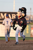 Lancaster JetHawks mascot Kaboom during a game against the Stockton Ports at The Hanger on June 24, 2014 in Lancaster, California. Stockton defeated Lancaster, 6-4. (Larry Goren/Four Seam Images)
