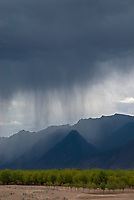 A dramatic rainstorm north of Lhasa on the Tibetan Plateau. Tibet, China.