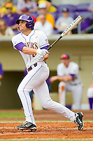 Mikie Mahtook #8 of the LSU Tigers follows through on his swing against the Wake Forest Demon Deacons at Alex Box Stadium on February 19, 2011 in Baton Rouge, Louisiana.  The Tigers defeated the Demon Deacons 4-3.  Photo by Brian Westerholt / Four Seam Images