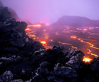 Lava lake at the caldera of Kilauea Volcano, Hawaii Volcanoes national Park, Big Island