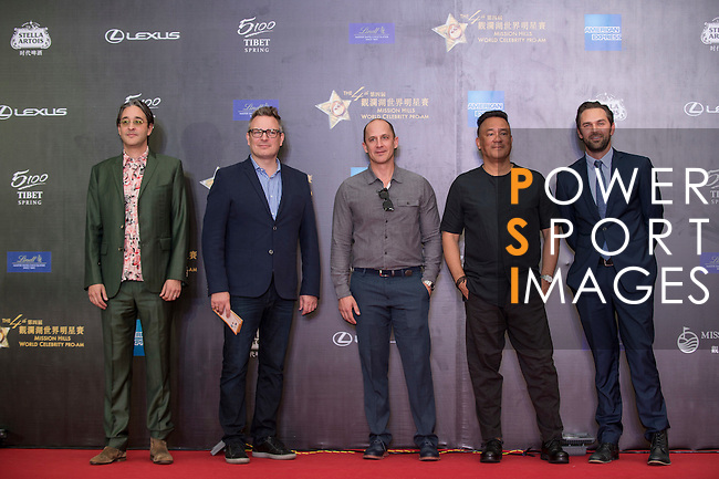 Markus Manninen, Jonah Greenberg, and Daniel Manwaring walk the Red Carpet event at the World Celebrity Pro-Am 2016 Mission Hills China Golf Tournament on 20 October 2016, in Haikou, China. Photo by Marcio Machado / Power Sport Images