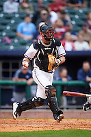 NW Arkansas Naturals catcher Zane Evans (30) throws to first during a game against the San Antonio Missions on May 30, 2015 at Arvest Ballpark in Springdale, Arkansas.  San Antonio defeated NW Arkansas 5-1.  (Mike Janes/Four Seam Images)