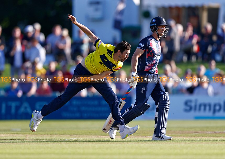 Chris Wood bowls for Hampshire during Kent Spitfires vs Hampshire Hawks, Vitality Blast T20 Cricket at The Spitfire Ground on 9th June 2021