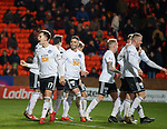 30.11.2018 Dundee Utd v Ayr Utd: Lawrence Shankland celebrates goal no 3 scored by Michael Moffat