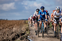front group riding Plugstreet 1<br /> <br /> 9th Gent-Wevelgem in Flanders Fields 2020<br /> Elite Womens Race (1.WWT)<br /> <br /> One Day Race from Ypres (Ieper) to Wevelgem 141km<br /> <br /> ©kramon