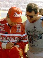 Neil Bonnett autograph race fan Pepsi Firecracker 400 at Daytona International Speedway in Daytona Beach, FL on July 4, 1985. (Photo by Brian Cleary/www.bcpix.com)