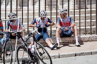 """Team Trek-Segafredo relaxing at the race start in Perugia<br /> <br /> 104th Giro d'Italia 2021 (2.UWT)<br /> Stage 11 from Perugia to Montalcino (162km)<br /> """"the Strade Bianche stage""""<br /> <br /> ©kramon"""