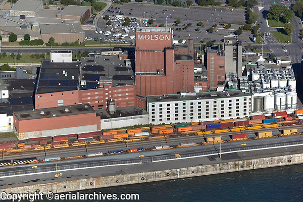 aerial photograph of the Molson Brewery, Montreal, Quebec, Canada, founded in 1786 is the oldest brewery in North America.