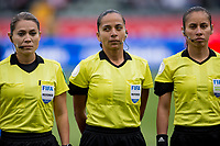 CARSON, CA - FEBRUARY 9: Enedina Gomez, Tatiana Guzman and Tonia Deane officials of the match during a game between Canada and USWNT at Dignity Health Sports Park on February 9, 2020 in Carson, California.