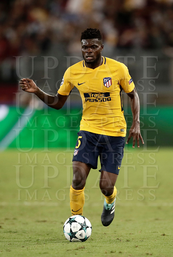 Football Soccer: UEFA Champions League AS Roma vs Atletico Madrid Stadio Olimpico Rome, Italy, September 12, 2017. <br /> Atletico Madrid's Thomas Partey in action during the Uefa Champions League football soccer match between AS Roma and Atletico Madrid at at Rome's Olympic stadium, September 12, 2017.<br /> UPDATE IMAGES PRESS/Isabella Bonotto