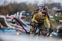 Wout van Aert (BEL/Jumbo-Visma) on his way to winning his 4th Belgian National Cyclocross Championships<br /> <br /> Elite Men's Race<br /> Belgian National CX Championships - Meulebeke 2021<br /> <br /> ©kramon