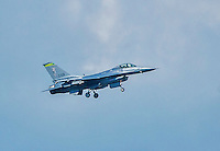 8 July 2014: A Vermont Air National Guard F-16 Fighter Jet approaches for a landing during a minor league baseball game between the Lowell Spinners and the Vermont Lake Monsters at Centennial Field in Burlington, Vermont. The Lake Monsters rallied in the 9th inning to defeat the Spinners 5-4 in NY Penn League action. Mandatory Credit: Ed Wolfstein Photo *** RAW Image File Available ****