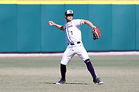 CARY, NC - FEBRUARY 23: Ryan Ford #7 of Penn State University fields the ball in left field during a game between Wagner and Penn State at Coleman Field at USA Baseball National Training Complex on February 23, 2020 in Cary, North Carolina.