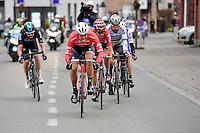 Jasper Stuyven (BEL/Trek-Segafredo), pushing hard in the breakaway group nearing the race finale with Tiesj Benoot (BEL/Lotto-Soudal), Peter Sagan (SVK/Bora-Hansgrohe), Matteo Trentin (ITA/QuickStep) & Luke Row (GBR/Team Sky) close behind<br /> <br /> 69th Kuurne-Brussel-Kuurne 2017 (1.HC)