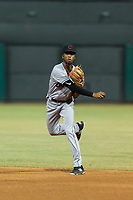 AZL Indians 2 second baseman Gionti Turner (10) throws to first base during an Arizona League game against the AZL Cubs 2 at Sloan Park on August 2, 2018 in Mesa, Arizona. The AZL Indians 2 defeated the AZL Cubs 2 by a score of 9-8. (Zachary Lucy/Four Seam Images)