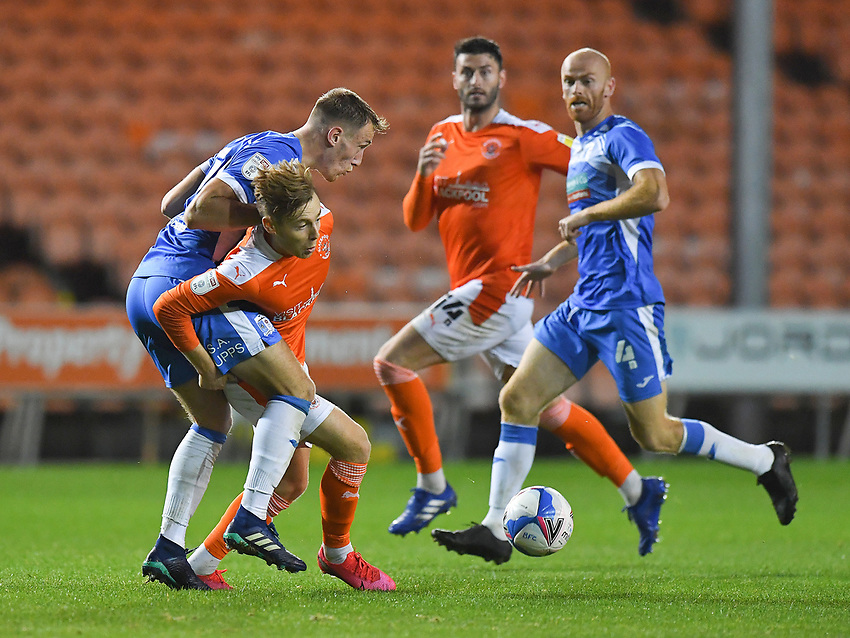 Blackpool's Daniel Kemp battles with Barrow's Scott Wilson<br /> <br /> Photographer Dave Howarth/CameraSport<br /> <br /> EFL Trophy Northern Section Group G - Blackpool v Barrow - Tuesday 8th September 2020 - Bloomfield Road - Blackpool<br />  <br /> World Copyright © 2020 CameraSport. All rights reserved. 43 Linden Ave. Countesthorpe. Leicester. England. LE8 5PG - Tel: +44 (0) 116 277 4147 - admin@camerasport.com - www.camerasport.com