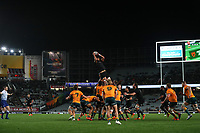 NZ's Akira Ioane takes lineout ball during the Bledisloe Cup rugby match between the New Zealand All Blacks and Australia Wallabies at Eden Park in Auckland, New Zealand on Saturday, 14 August 2021. Photo: Simon Watts / lintottphoto.co.nz / bwmedia.co.nz