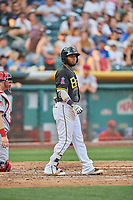 Luis Rengifo (5) of the Salt Lake Bees bats against the Memphis Redbirds at Smith's Ballpark on July 24, 2018 in Salt Lake City, Utah. Memphis defeated Salt Lake 14-4. (Stephen Smith/Four Seam Images)