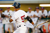 Drew Ward #56 of the USA 18u National Team follows through on his swing against the USA Baseball Collegiate National Team at the USA Baseball National Training Center on July 2, 2011 in Cary, North Carolina.  The College National Team defeated the 18u team 8-1.  Brian Westerholt / Four Seam Images