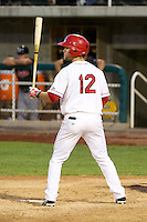 Tyler Palmer (12) of the Orem Owlz at bat against the Billings Mustangs in Pioneer League action at Home of the OWLZ on August 15, 2014 in Orem , Utah.  (Stephen Smith/Four Seam Images)
