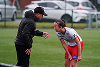 Essevee's head coach Angelo Gaytant gives instructions to Essevee's Geena Lisa Buyle (13) during a female soccer game between the women teams of Zulte Waregem A Dames and KRC Genk Ladies B on the 1/16 th qualifying round for the Belgian Womens Cup 2020  2021 , on saturday 26 th of September 2020  in Zulte , Belgium . PHOTO SPORTPIX.BE | SPP | SEVIL OKTEM