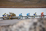The peloton in action during Stage 1 of the 2018 Artic Race of Norway, running 184km from Vadso to Kirkenes, Norway. 16th August 2018. <br /> <br /> Picture: ASO/Rasmus Kongsore | Cyclefile<br /> All photos usage must carry mandatory copyright credit (© Cyclefile | ASO/Rasmus Kongsore)