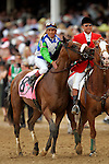 Barbaro, ridden by Edgar Prado, celebrates the win immediately following the 132nd running of the Kentucky Derby at Churchill Downs in Louisville, Kentucky on May 6, 2006..