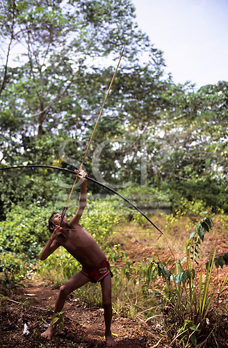 Roraima State, Brazil; Yanomami boy practising with bow and arrow in the rainforest.