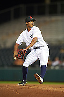 Scottsdale Scorpions pitcher Dillon Tate (50), of the New York Yankees organization, during a game against the Glendale Desert Dogs on October 14, 2016 at Scottsdale Stadium in Scottsdale, Arizona.  Scottsdale defeated Glendale 8-7.  (Mike Janes/Four Seam Images)