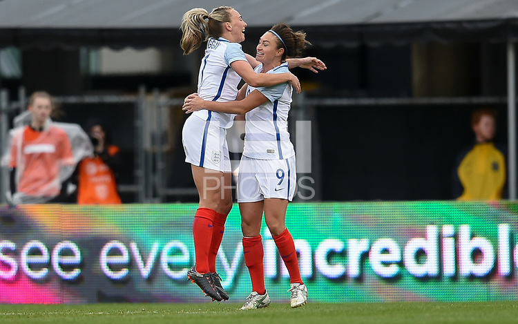 Columbus, Ohio - Thursday March 01, 2018: Jodie Taylor scores and celebrates with her team mates during a 2018 SheBelieves Cup match between the women's national teams of the England (ENG) and France (FRA) at MAPFRE Stadium.