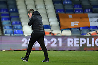 23rd February 2021; Kenilworth Road, Luton, Bedfordshire, England; English Football League Championship Football, Luton Town versus Millwall; A dejected Luton Town Manager Nathan Jones
