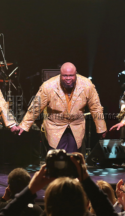 The Temptations featuring  Bruce Williamson performing during 'The Temptations And The Four Tops On Broadway' - Curtain Call at Palace Theatre on December 29, 2014 in New York City.