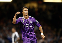 Calcio, Champions League: finale Juventus vs Real Madrid. Cardiff, Millennium Stadium, 3 giugno 2017.<br /> Real Madrid's Cristiano Ronaldo celebrates after scoring during the Champions League final match between Juventus and Real Madrid at Cardiff's Millennium Stadium, Wales, June 3, 2017. <br /> UPDATE IMAGES PRESS/Isabella Bonotto