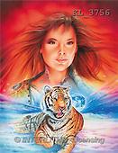Interlitho, Jason, FANTASY, paintings, woman, tiger, KL, KL3756,#fantasy# illustrations, pinturas
