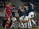 12/01/2008    Copyright Pic: James Stewart.File Name : sct_jspa19_falkirk_v_aberdeen.ARNAU RIERA IS CONGRATULATED AFTER HE SCORES FALKIRK'S SECOND.James Stewart Photo Agency 19 Carronlea Drive, Falkirk. FK2 8DN      Vat Reg No. 607 6932 25.Office     : +44 (0)1324 570906     .Mobile   : +44 (0)7721 416997.Fax         : +44 (0)1324 570906.E-mail  :  jim@jspa.co.uk.If you require further information then contact Jim Stewart on any of the numbers above.........