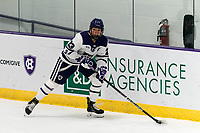 WORCESTER, MA - JANUARY 16: Antonia Matzka #23 of Holy Cross looks to pass during a game between Boston College and Holy Cross at Hart Center Rink on January 16, 2021 in Worcester, Massachusetts.