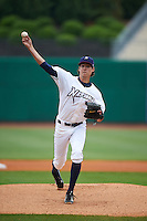 NW Arkansas Naturals pitcher Luke Farrell (40) delivers a pitch during a game against the San Antonio Missions on May 30, 2015 at Arvest Ballpark in Springdale, Arkansas.  San Antonio defeated NW Arkansas 5-1.  (Mike Janes/Four Seam Images)