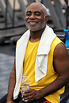 African American man smiling after gym workout