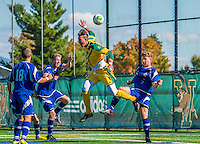 28 September 2013: University of Vermont Catamount Defenseman Salvatore Borea, a Senior from New Canaan, CT, in action against the Hartwick College Hawks at Virtue Field in Burlington, Vermont. The Catamounts shut out the visiting Hawks 1-0 on Borea's goal in the second half of play. Mandatory Credit: Ed Wolfstein Photo *** RAW (NEF) Image File Available ***