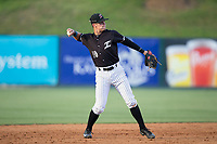 Kannapolis Intimidators shortstop Mitch Roman (10) warms-up between innings of the game against the Hickory Crawdads in game one of a double-header at Kannapolis Intimidators Stadium on May 19, 2017 in Kannapolis, North Carolina.  The Crawdads defeated the Intimidators 5-4.  (Brian Westerholt/Four Seam Images)