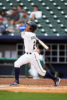 NW Arkansas shortstop Raul Mondesi (2) at bat during a game against the San Antonio Missions on May 31, 2015 at Arvest Ballpark in Springdale, Arkansas.  NW Arkansas defeated San Antonio 3-1.  (Mike Janes/Four Seam Images)