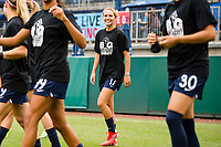TACOMA, WA - JULY 31: Dani Weatherholt #17 of the OL Reign enters the pitch during a game between Racing Louisville FC and OL Reign at Cheney Stadium on July 31, 2021 in Tacoma, Washington.