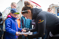 Picture by Alex Whitehead/SWpix.com - 18/06/2016 - Cycling - Aviva Women's Tour - Stage 4, Nottingham to Stoke-on-Trent - Boels-Dolmans' Lizzie Armitstead signs autographs for fans before the start of Stage 4.