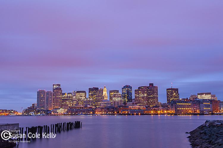 Sunrise on the waterfront of Boston, Massachusetts, USA
