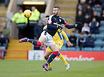 Dundee v St Johnstone….31.12.16     Dens Park    SPFL<br />Marcus Haber flicks the ball past Joe Shaghnessy<br />Picture by Graeme Hart.<br />Copyright Perthshire Picture Agency<br />Tel: 01738 623350  Mobile: 07990 594431