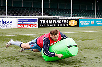London Scottish practice tackles during the Greene King IPA Championship match between Ealing Trailfinders and London Scottish Football Club at Castle Bar , West Ealing , England  on 19 January 2019. Photo by Carlton Myrie/PRiME Media Images