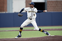 Michigan Wolverines pitcher Angelo Smith (40) delivers a pitch to the plate against the Indiana State Sycamores on April 10, 2019 in the NCAA baseball game at Ray Fisher Stadium in Ann Arbor, Michigan. Michigan defeated Indiana State 6-4. (Andrew Woolley/Four Seam Images)