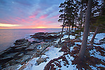 Colorful sunrise along the eastern side of the Schoodic Peninsula in Acadia National Park, Maine, USA
